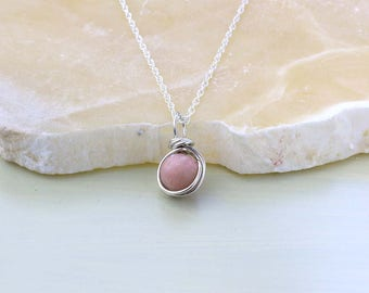 Pink Opal Gemstone Pendant on Sterling Silver Chain, October Birthstone