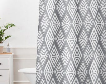 Grey Geometric Shower Curtain // Bathroom // Diamond In The Rough Design // Modern Geometric // Shower // Bathroom Decor // Tribal Print