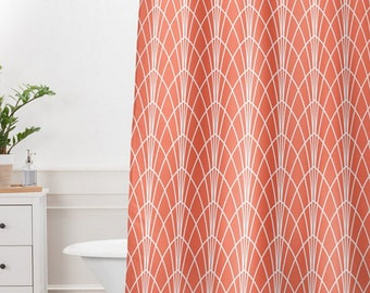 Modern Geometric Shower Curtain // Bathroom // Arcada Design // Modern Geometric // Shower // Bathroom Decor // Coral Red // Shower Curtain