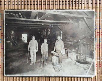 Men at Work:  Large Vintage Photograph, Three Men in Farrier Workshop