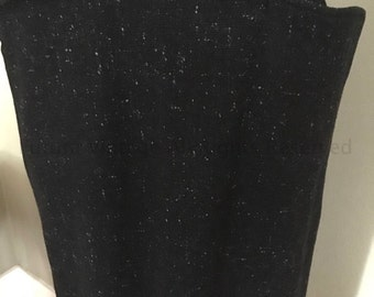1950s Black Fleck High Waist Fitted Wool Skirt with Amazing Wing Pockets-S