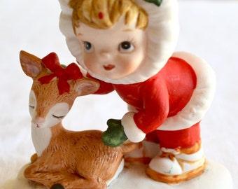 Vintage Christmas Figurine - Lefton Girl and Deer