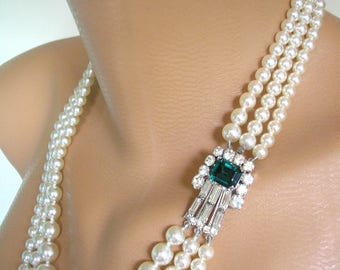 Pearl Necklace, EMERALD Bridal Necklace, Mother Of The Bride, Bridal Jewelry, Art Deco, Great Gatsby, Wedding Necklace, Emerald Rhinestone
