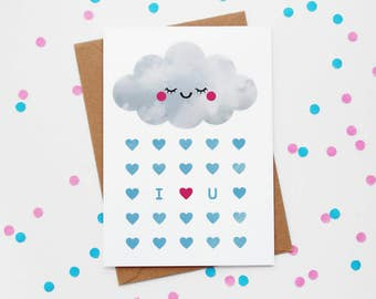 Cloud I Love You Card, Sleepy Rain Cloud, Anniversary Paper Goods