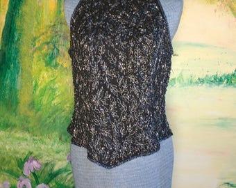 Sparkling Black Beaded Blouse