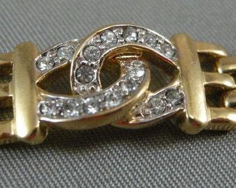 Vintage Designer Bracelet W/ Pave Set Rhinestones Signed AFJ Taiwan Juicy Bracelets,Mod Jewelry, Vintage Bracelets
