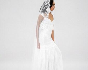 Floral Embroidered Wedding Veil, Bridal Veil, Long Veil, Ivory Veil, Mantilla Veil, Modern Veil, Nature Inspired Veil - Style 616