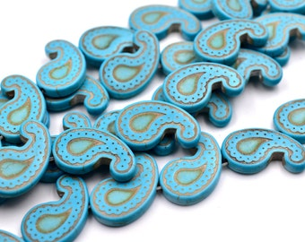 Paisley  Beads, 16 Inch Strand, 23x14mm, Howlite Beads, Turquoise -B610