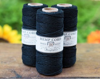 Black Hemp Cord, 1mm Hemp Twine,  205 Feet, Black Hemp Twine, Bead Cord, Macrame Cord -T34