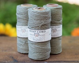 Olive Green Hemp Cord, 1mm, Green Hemp Twine,  205 Feet,  Hemptique Cord -T6