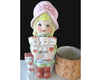 Tealight Candle Holder * Girl Holding Kittens * Whimsical Votive Candle Holder
