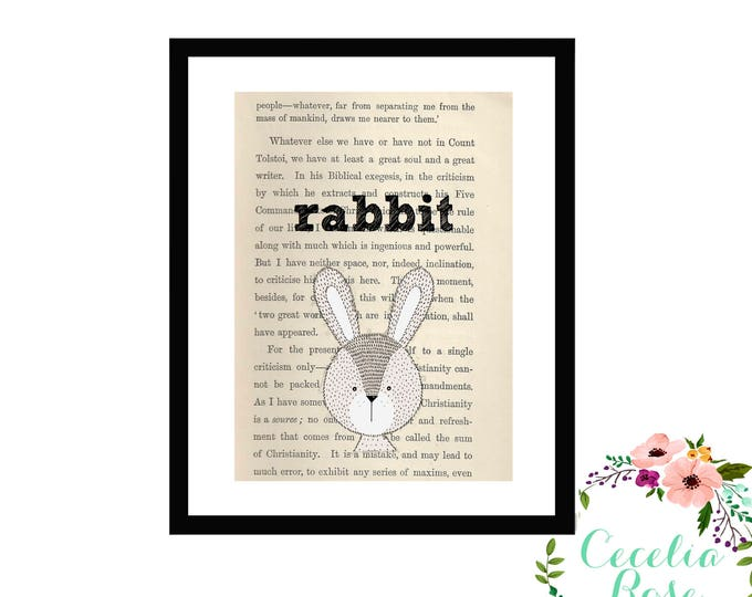 Rabbit Book Art Vintage Book Art Cute Simple Box Frame or Print