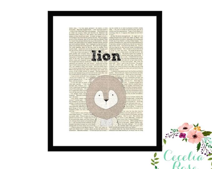 Lion Book Art Vintage Book Art Cute Simple Box Frame or Print