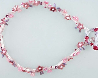 Flowers Necklace, Art-Glass Lampwork Toggle, Beadweaving Necklace,White Pink Lilac Necklace, OOAK