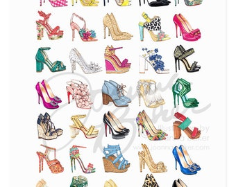 All the Shoes Fashion Illustration Art Print / Shoe Illustration Sketch, Fashion Sketch Art, Fashion Art Print, Fashion Wall Art, Shoe Art