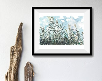 Art print On a Windy Day, watercolor print, clouds print, landscape painting, bamboo plants art, Dusk Blue, teal. landscape print, homedecor
