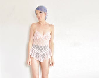 sheer cotton candy pink lingerie . trashy ballerina camisole chemise babydoll top .small.medium