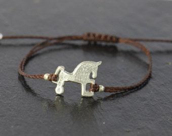 Horse bracelet  sterling silver artisan handmade unique bead.Adjustable everyday bracelet.Horse riding.Soria Horse.Horse Charm