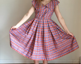 50s Day Dress, NAUTICAL Dress, Mid Century Dress, Plaid, Tea Length Dress Vintage Dress Full Skirt Off The Shoulder Retro Pin Up Small Med