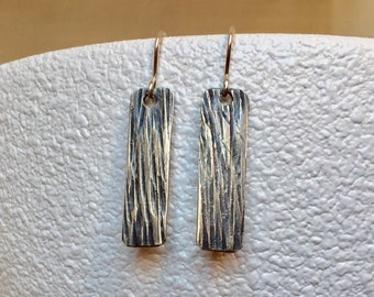 Rustic Bark Silver Earrings Hammered Silver Earrings Bark Textured Silver Stick Tab Earrings Birch Textured Silver Dangles Gift for Her, Mom