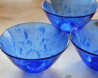 Blue Fused Glass Bowl, Large blue glass bowl, modern glass bowl, sariyer