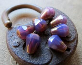 NEW GRAPE DROPS .  Czech Metallic Glass Beads . 6 mm by 8 mm (10)
