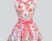 Sweetheart Womens Apron - Orange Sherbet Rose Floral Cute Retro 50s Style Pinup Vintage Style Pin Up Kitchen Apron with Pocket to Monogram