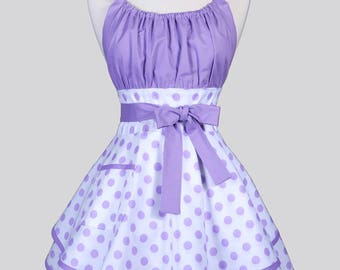 Womens Flirty Chic Apron - Lavender Polka Dots on White Cute and Sexy Vintage Style Pin Up Kitchen Cooking Apron with Pocket and Full Skirts