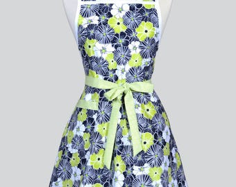 STELLA Retro Housewife Apron - Lime Green and Black Floral Womens Vintage Inspired Cute Housewife Kitchen Apron with Pocket