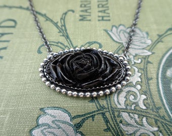 Odessa--Oxidized Sterling Silver and Black Rose Necklace--Vintage Glass Cabochon--Handcrafted