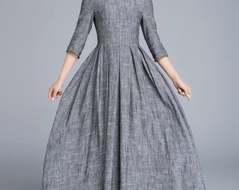 grey dress, linen dress, summer dress, maxi dress, romantic dress, classic dress, pleated dress, fitted dress, womens dresses, gift  1653