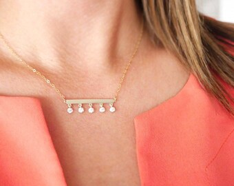 Gold Bar Necklace with Dangling CZs | Dainty Bar Necklace | Gold and CZ Crystals