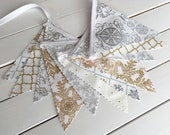Holiday Decor, Christmas Decor, Bunting Banner, Photography Prop, Christmas Decoration, Merry Christmas, Gold, Silver, Snowflakes