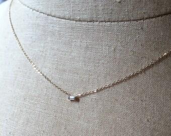 Diamond Baguette Necklace, Diamond Baguette, Baguette Necklace, Diamond Necklace, Diamond Solitaire Necklace, Diamond Bezel Necklace
