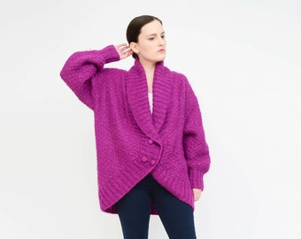 Vintage 80s Purple Cardigan Wool Mohair Sweater, Oversize Cardigan, Shawl Collar Knit Jacket Small S