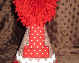 Sock Monkey Birthday Hat, Brown and Red Birthday Hat,  Birthday Hat