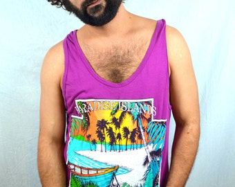 Vintage 1980s 90s Tank Top - Paradise Island Coral Bay