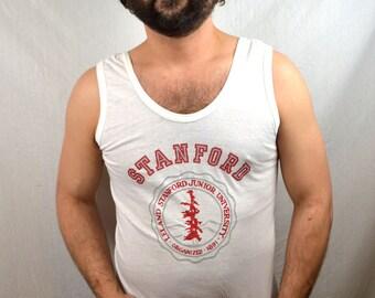 Vintage 1980s Stanford University Tee Shirt Tank Top