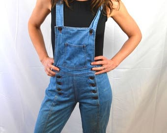 WOW Super Cute Vintage Bell Bottom Denim 1970s 70s Overalls