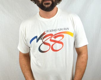 Vintage 80s 1988 Boeing Airplane Tee Shirt Fun Run Tshirt