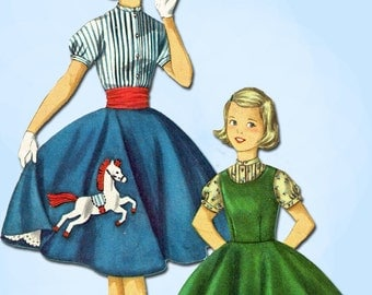 1950s Vintage Simplicity Sewing Pattern 1741 Little Girls Poodle Skirt Size 10