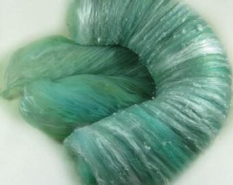 Aqua Seafoam Textural Art Batt for spinning and felting (3.4 ounces)