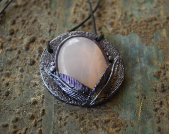 Forest Violet Natural Crystal Pendant with Rose Quartz - Gypsy - Bohemian - Healing