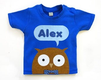 Organic Owl Personalized Baby T-Shirt, Baby Shower Gift, Baby Boy
