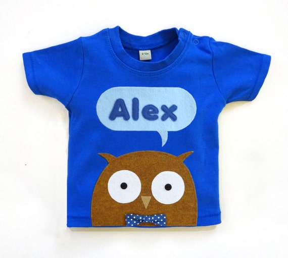 Organic Owl Personalized Baby T Shirt Baby Shower Gift Baby