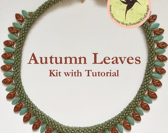 Autumn Leaves Fully Beaded Kumihimo Necklace with Embellishment Kit and Tutorial, Free Canvas Tote Too!