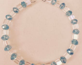 American Girl Sized Choker Necklace Made of Blue and  Clear Crystals