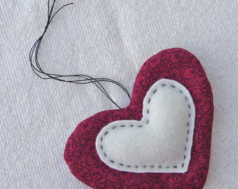 Quilted Heart - Hand Quilting - Sewing Room Decor and Pincushion - Cotton and Wool