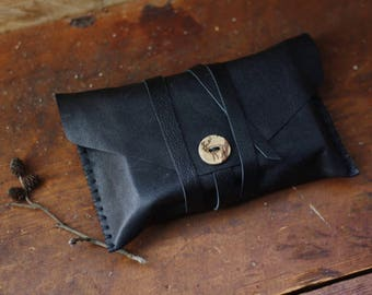 Caribou - black tarot pouch in upcycled leather