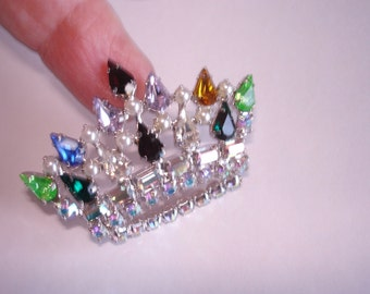 Multi Color Rhinestone Crown  Brooch Silver Tone